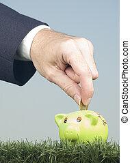 üzletember, takarékbetét pénz, képben látható, egy, piggy-bank