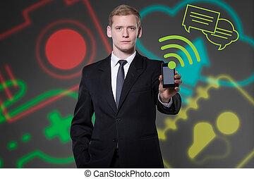 üzletember, technologies, modern, fiatal, használ