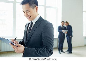 üzletember, terv, írás
