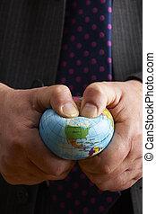 üzletember, tolongás, földgolyó, felett, észak-amerika