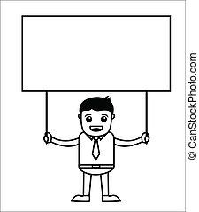üzletember, transzparens, birtok