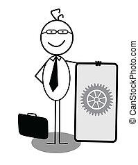 üzletember, transzparens, előrehalad