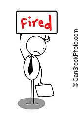 üzletember, transzparens, felgyújtott