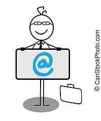 üzletember, transzparens, online