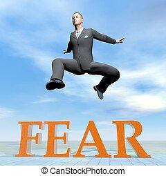 üzletember, ugrás, az eredményeképpen, félelem, szó, -, 3, render