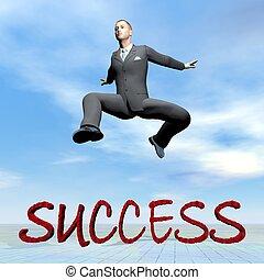 üzletember, ugrás, az eredményeképpen, siker, szó, -, 3, render