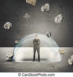 üzletember, védett, alapján, a, krízis