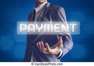 üzletember, vagy, salaryman, noha, fizetés, szöveg, modern, határfelület, conc