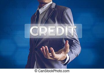 üzletember, vagy, salaryman, noha, hitel, szöveg, modern, határfelület, conce