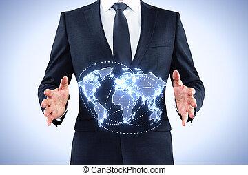 üzletember, világ, birtok, térkép