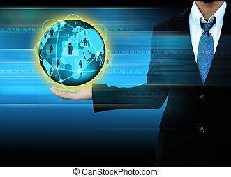 üzletember, világ, hálózat, birtok, társadalmi