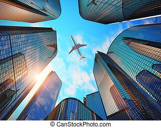 üzleti negyed, noha, modern, felhőkarcoló