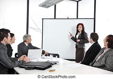 üzleti találkozás, -, csoport emberek, alatt, hivatal, -ban, bemutatás