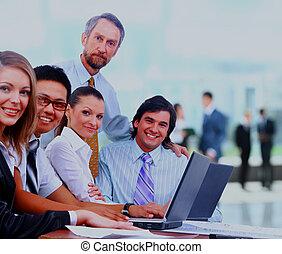üzleti találkozás, -, menedzser, fejteget, munka, noha, övé, colleagues.