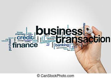 üzleti transzakció, szó, felhő, képben látható, szürke, háttér