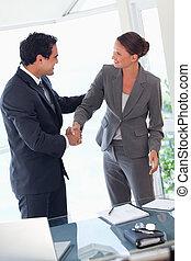 část, ruce, závěrečný, business spolutanečnice, po, otřes