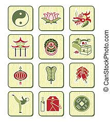 číňan, ikona, |, bambus, řada