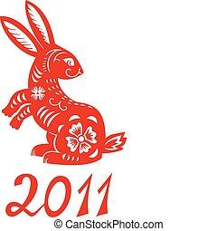 číňan, zvěrokruh, o, králík, year.