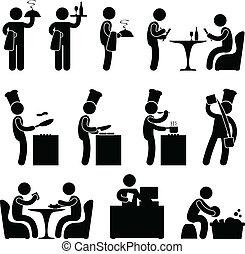 číšník, vrchní kuchař, zákazník, restaurace
