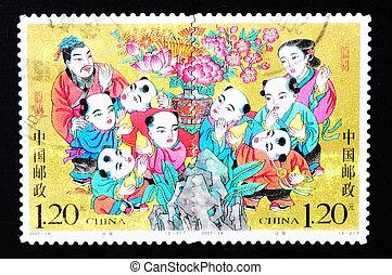 čína, -, přibližně, 2007:, jeden, dupnutí, tištěný, do, čína, ukazuje, jeden, dějinný, pohádka, o, rozdělající, hruška, přibližně, 2007