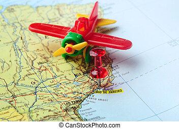 čípek, mapa, letiště, rio de janeiro