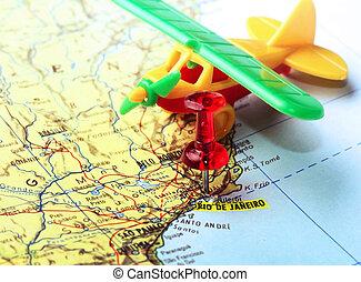 čípek, mapa, rio de janeiro, letadlo