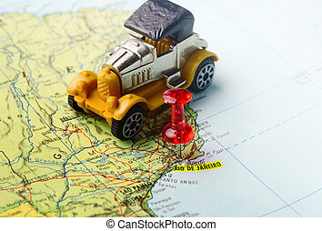 čípek, mapa, rio de janeiro, vůz, za