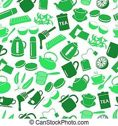 čaj, námět, nezkušený, jednoduchý ikona, seamless, model, eps10