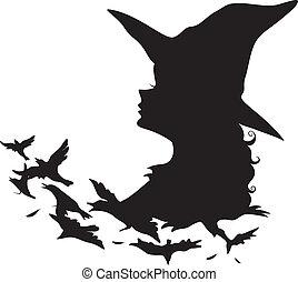 čarodějnice, silueta