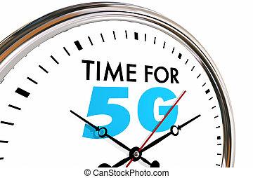 čas, jako, 5g, bezdrátový, síť, technika, hodiny, 3, ilustrace