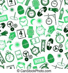 čas, námět, moderní, jednoduchý ikona, seamless, barva, model, eps10