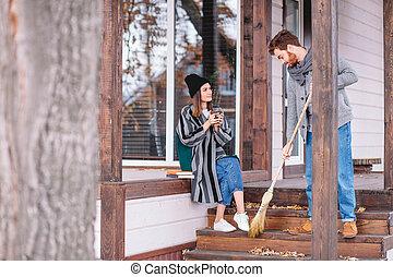 čas, podzim, venku, volno, dvojice, ubytovat se, udělat si rád, soukromý, backyard