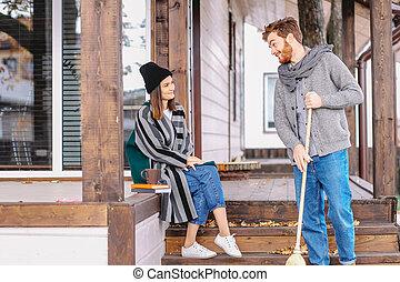 čas, ubytovat se, dvojice, podzim, soukromý, volno, venku, backyard, udělat si rád