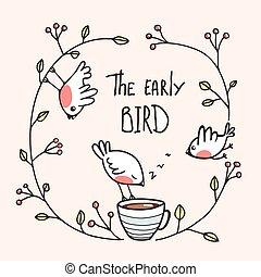 časný, rčení, zrnková káva, ptáci, ptáček