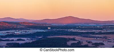 čech, klet, krajina, hora, kopcovitý, východ slunce, vyvýšenina, republika, jih, ukrýt v lese, grafické pozadí, -, čechy