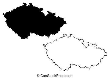 Cech Mapa Vektor Republika