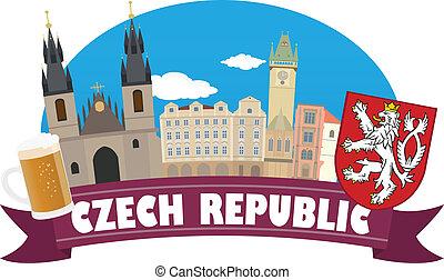 čech, pohybovat se, republic., turistika