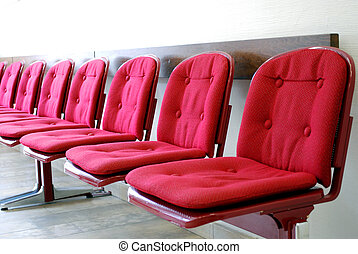 čekání, řada, místo, červeň, sedačky