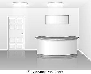 čelit, illustration., business úřadovna, hotel, nebo, realistický, desk., vektor, ukázka, příjem, vnitřní, jídelna, neobsazený, 3