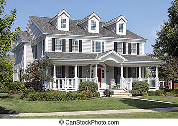 čelo, domů, předměstský, veranda