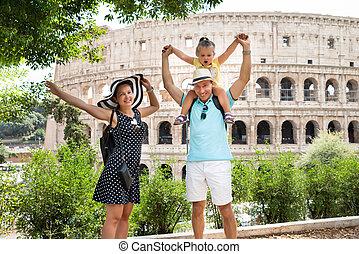 čelo, rodina, koloseum, stálý, mládě