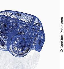 čelo, vůz, vzor, moderní, názor