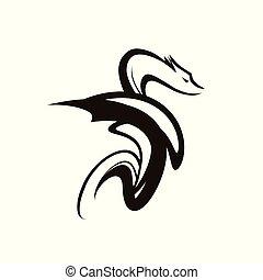 čepobití, barva, osamocený, ilustrace, drak, fantazie, vektor, čerň, animální, neposkvrněný, symbol.