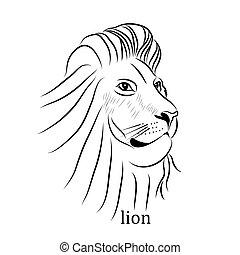 čepobití, ilustrace, lev, vektor, čerň, neposkvrněný