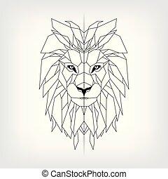 čepobití, král, ilustrace, lev, vektor, čerň, neposkvrněný