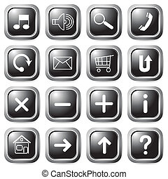 čerň, čtverec, buttons.
