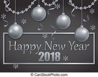 čerň, 2018, rok, čerstvý, stříbrný, šťastný