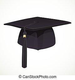 čerň, akademický, klobouk, s, jeden, střapec, 1, osamocený, oproti neposkvrněný, grafické pozadí