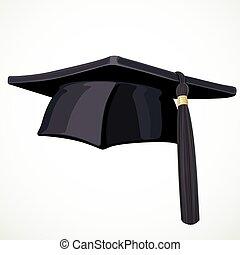 čerň, akademický, klobouk, s, jeden, střapec, 3, osamocený, oproti neposkvrněný, grafické pozadí