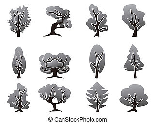 čerň, dát, strom, ikona
